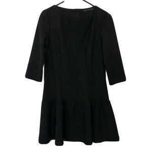 Zara Black 3/4 Sleeve Knit Drop Waist Dress
